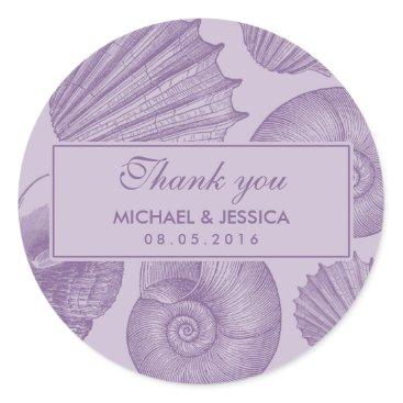 Beach Themed Purple Seashell Wedding Favor Thank You Sticker