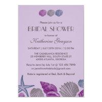 Purple Seashells Invitation for Beach Wedding