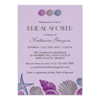 Purple Seashells Invitation for Beach Wedding