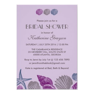 Beach Themed Purple Seashells Invitation for Beach Wedding