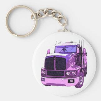 Purple Semi Truck Keychain