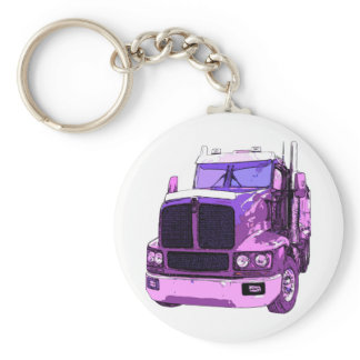Purple Semi Truck Keychain