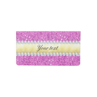 Purple Sequins Gold Foil and Diamonds Checkbook Cover