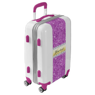 Purple Sequins Gold Foil and Diamonds Luggage