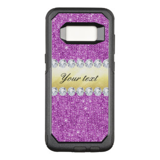 Purple Sequins Gold Foil and Diamonds OtterBox Commuter Samsung Galaxy S8 Case