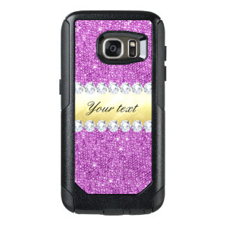Purple Sequins Gold Foil and Diamonds OtterBox Samsung Galaxy S7 Case