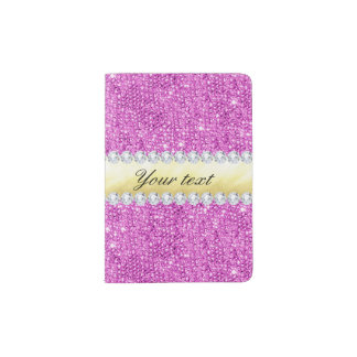Purple Sequins Gold Foil and Diamonds Passport Holder
