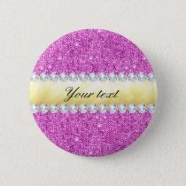 Purple Sequins Gold Foil and Diamonds Pinback Button