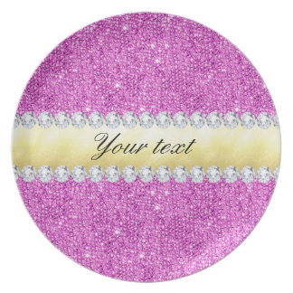 Purple Sequins Gold Foil and Diamonds Plate