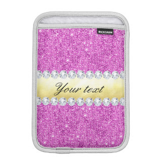 Purple Sequins Gold Foil and Diamonds Sleeve For iPad Mini
