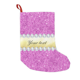 ad95eac11 Purple Sequins Gold Foil and Diamonds Small Christmas Stocking