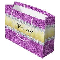 Purple Sequins Gold Foil Bling Diamonds Large Gift Bag