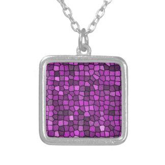 Purple Sequins Square Pendant Necklace