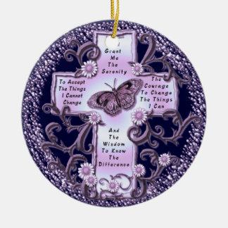 Purple Serenity Prayer Cross Ceramic Ornament