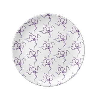 Purple Serpent Star Pattern Marine Life Dinner Plate