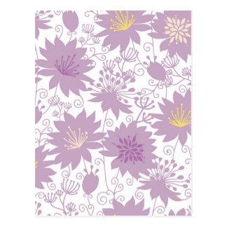 Purple shadow florals pattern postcard