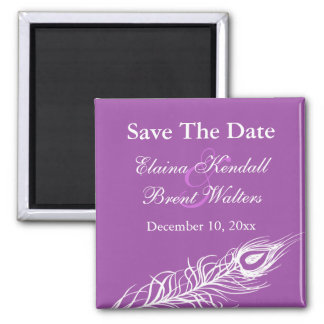 Purple Shake your Tail Feathers Save the Date Magnet