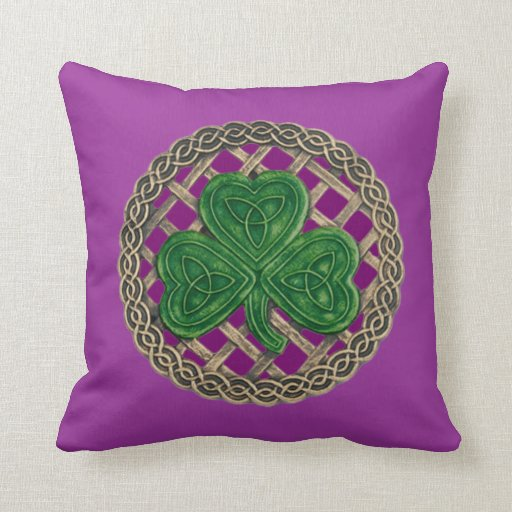 Purple Shamrock And Celtic Knots Reversible Pillow