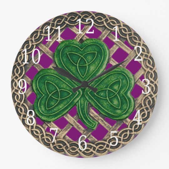 Purple Shamrock And Celtic Knots Round Clock