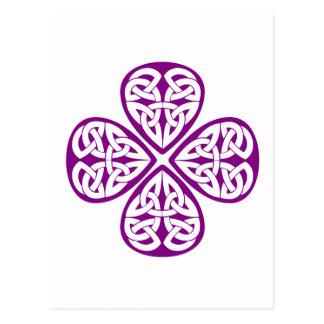 purple shamrock celtic knot postcard