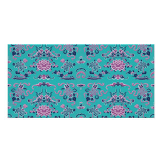 Purple Shapes and Flowers on Teal Custom Photo Card