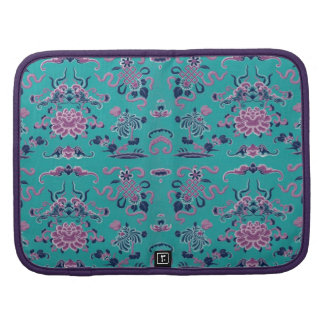 Purple Shapes and Flowers on Teal Organizers