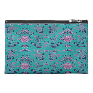 Purple Shapes and Flowers on Teal Travel Accessory Bag