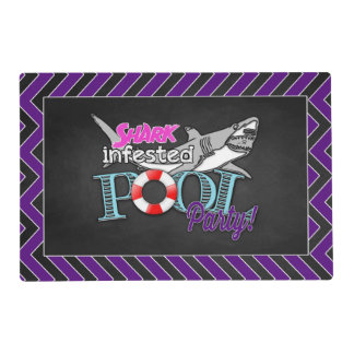 Purple Shark Birthday Pool Party Place Mats