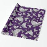 Purple shark pattern gift wrap paper