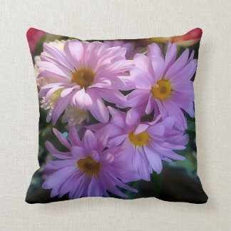 Purple Shasta Daisy Flower Throw Pillow
