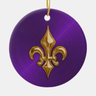 Purple Sheen and Gold Fleur de Lis Ceramic Ornament