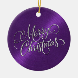 Purple Sheen and Silver Merry Christmas Ceramic Ornament