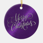 Purple Sheen and Silver Merry Christmas Christmas Tree Ornament