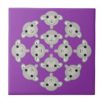 Purple sheep mandala geboortetegels
