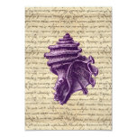 Purple shell on vintage letter  background invitations
