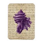 Purple shell on vintage letter  background magnet