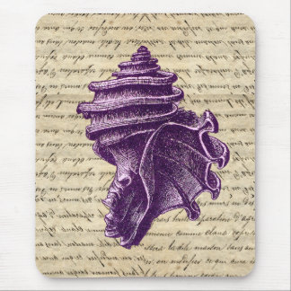 Purple shell on vintage letter  background mouse pad