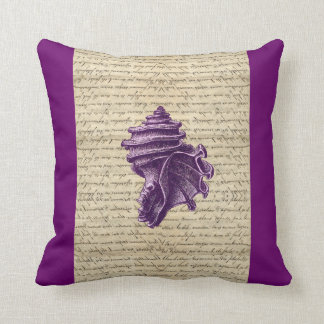 Purple shell on vintage letter background pillow