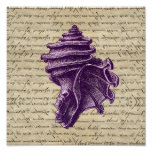 Purple shell on vintage letter  background print