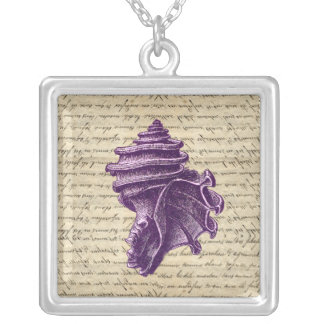 Purple shell on vintage letter  background silver plated necklace