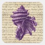 Purple shell on vintage letter  background sticker
