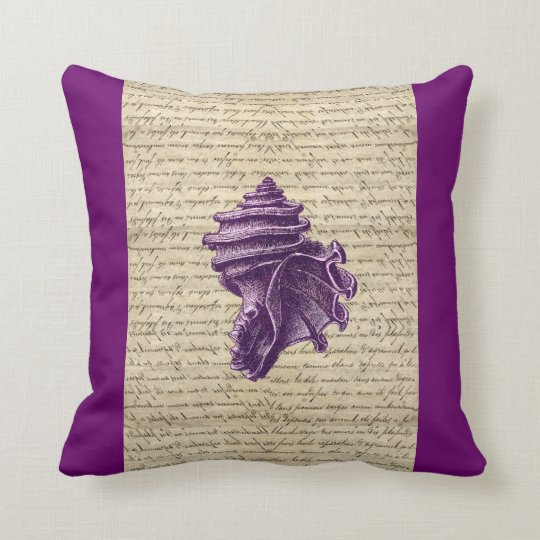 Purple shell on vintage letter  background throw pillow