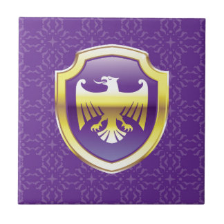 Purple Shield With Golden Eagle Vector Royal Icon Ceramic Tile