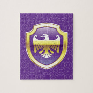 Purple Shield With Golden Eagle Vector Royal Icon Jigsaw Puzzle