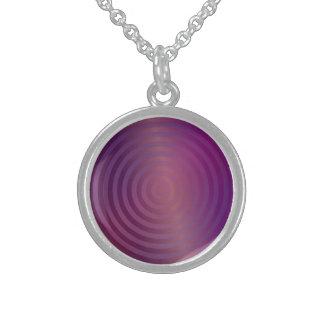 Purple shiny circles round pendant necklace