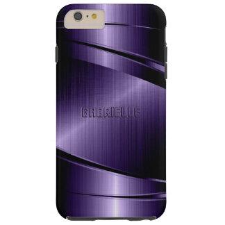 Purple Shiny Metallic Brushed Aluminum Look Tough iPhone 6 Plus Case