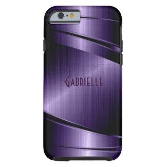 Purple Shiny Metallic Brushed Aluminum Look Tough iPhone 6 Case
