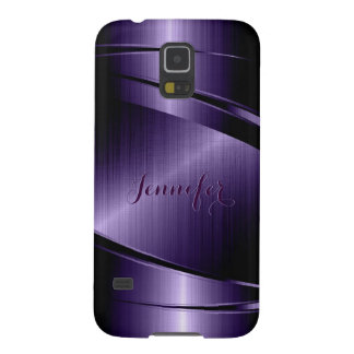 Purple Shiny Metallic Brushed Aluminum Look Case For Galaxy S5