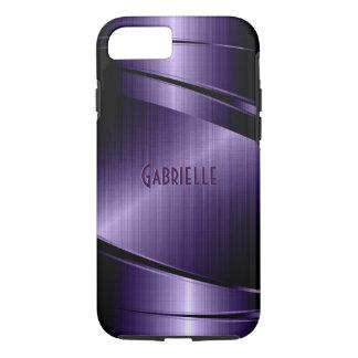Purple Shiny Metallic Brushed Aluminum Look iPhone 8/7 Case