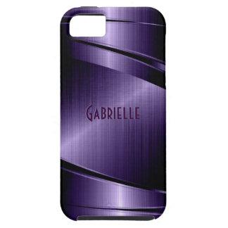 Purple Shiny Metallic Brushed Aluminum Look iPhone SE/5/5s Case